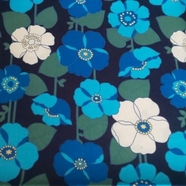 花柄 ブルー 綿生地薄手1m