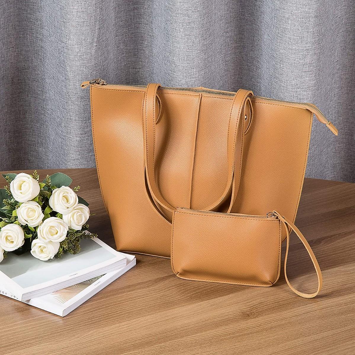レディース通勤ビジネスバッグ トットバッグ 合成皮革ブラウン レザートートバッグ 親子セット 大容量 A4