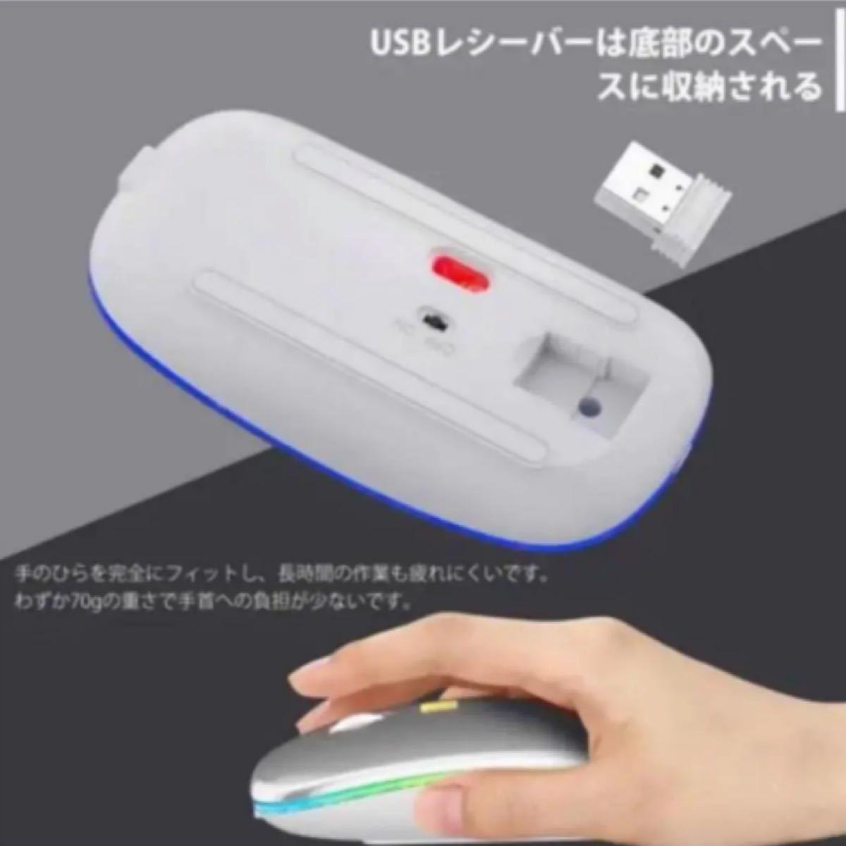 【最新版】ワイヤレスマウス 静音 超軽量 USB 薄型 (シルバー)