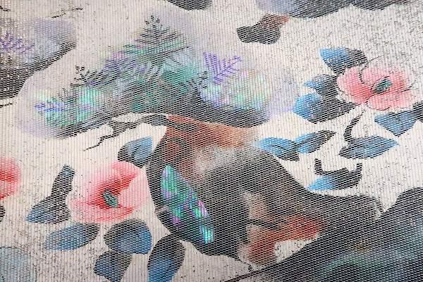 【着物フィ】袋帯 オフホワイト 鶴 松 梅 椿 オーロラ 長さ4m36cm フォーマル 正絹 仕立て上がり m-2398_画像5