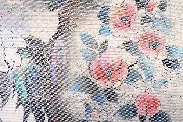 【着物フィ】袋帯 オフホワイト 鶴 松 梅 椿 オーロラ 長さ4m36cm フォーマル 正絹 仕立て上がり m-2398_画像4
