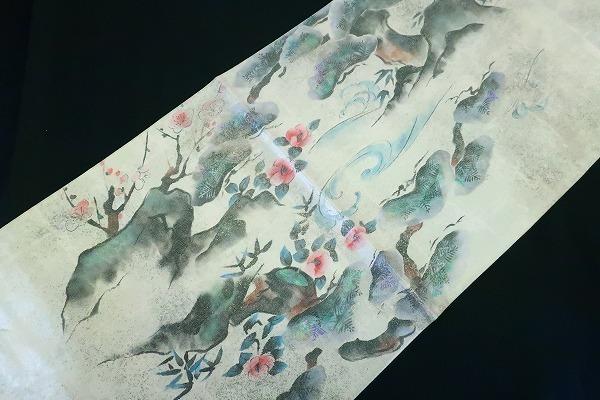 【着物フィ】袋帯 オフホワイト 鶴 松 梅 椿 オーロラ 長さ4m36cm フォーマル 正絹 仕立て上がり m-2398_画像7