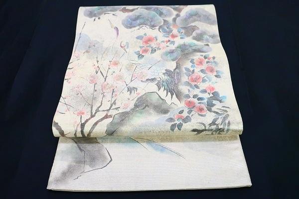 【着物フィ】袋帯 オフホワイト 鶴 松 梅 椿 オーロラ 長さ4m36cm フォーマル 正絹 仕立て上がり m-2398_画像2