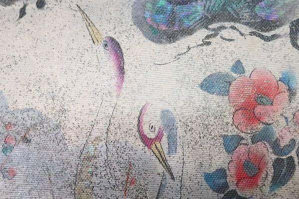 【着物フィ】袋帯 オフホワイト 鶴 松 梅 椿 オーロラ 長さ4m36cm フォーマル 正絹 仕立て上がり m-2398_画像3
