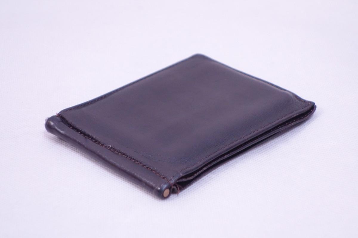 ■ミニマリストに◎《中古△》マネークリップ付 2つ折り革財布/黒/t0_画像5