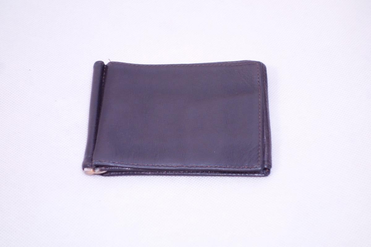 ■ミニマリストに◎《中古△》マネークリップ付 2つ折り革財布/黒/t0_画像2