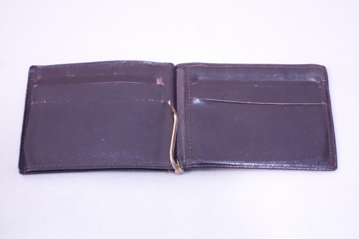 ■ミニマリストに◎《中古△》マネークリップ付 2つ折り革財布/黒/t0_画像3