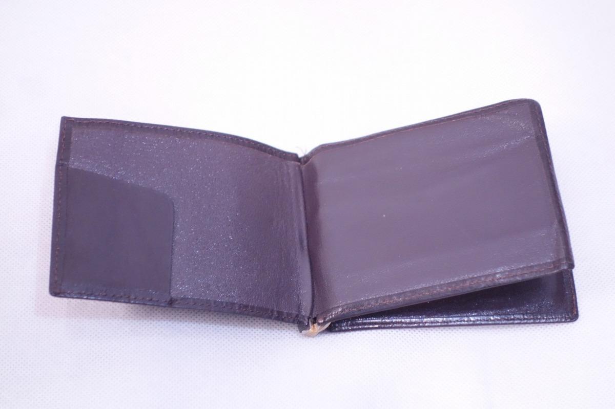 ■ミニマリストに◎《中古△》マネークリップ付 2つ折り革財布/黒/t0_画像4