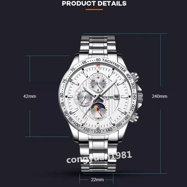 ☆最安 男性高級腕時計 42mm 機械式自動巻 カレンダー 曜日表示 SUN&MOON 多機能 メンズウォッチ 夜光 防水 紳士 シルバー◇_画像2