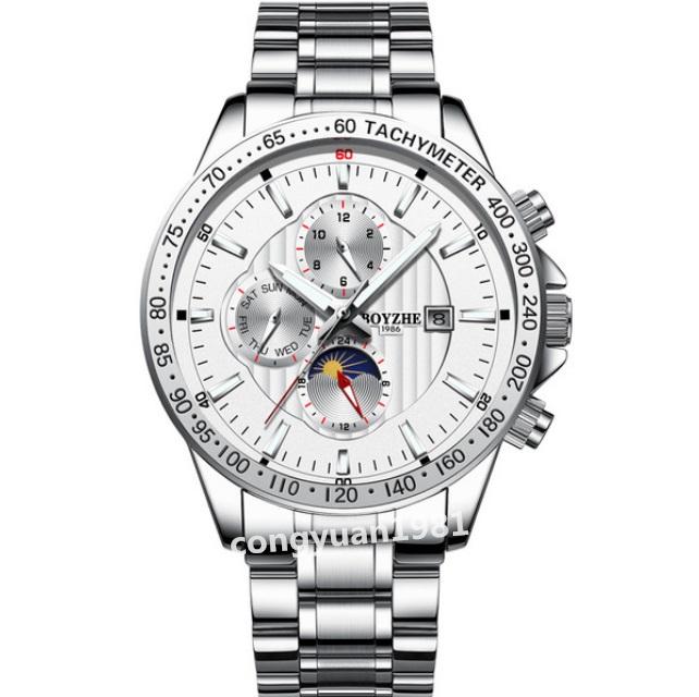 ☆最安 男性高級腕時計 42mm 機械式自動巻 カレンダー 曜日表示 SUN&MOON 多機能 メンズウォッチ 夜光 防水 紳士 シルバー◇_画像1