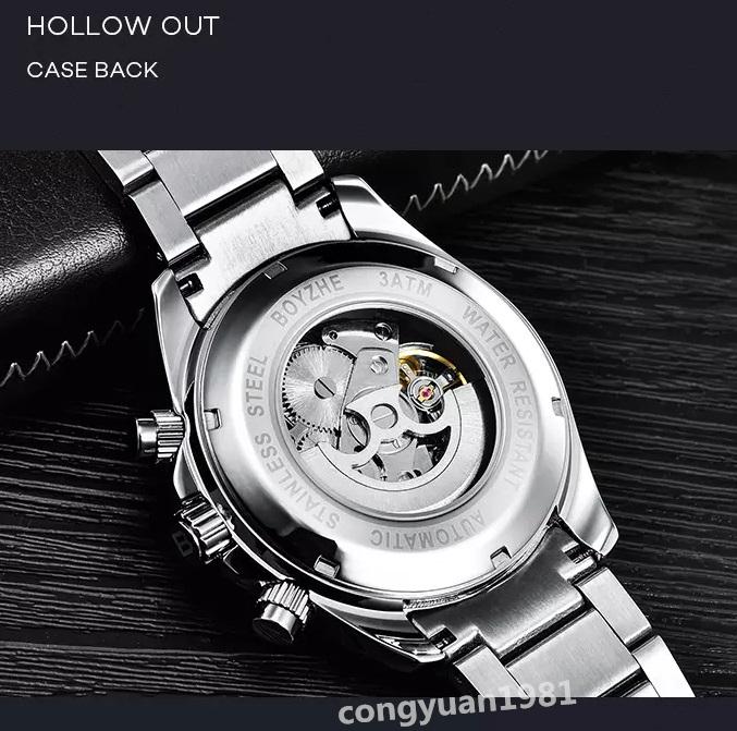 ☆最安 男性高級腕時計 42mm 機械式自動巻 カレンダー 曜日表示 SUN&MOON 多機能 メンズウォッチ 夜光 防水 紳士 シルバー◇_画像5