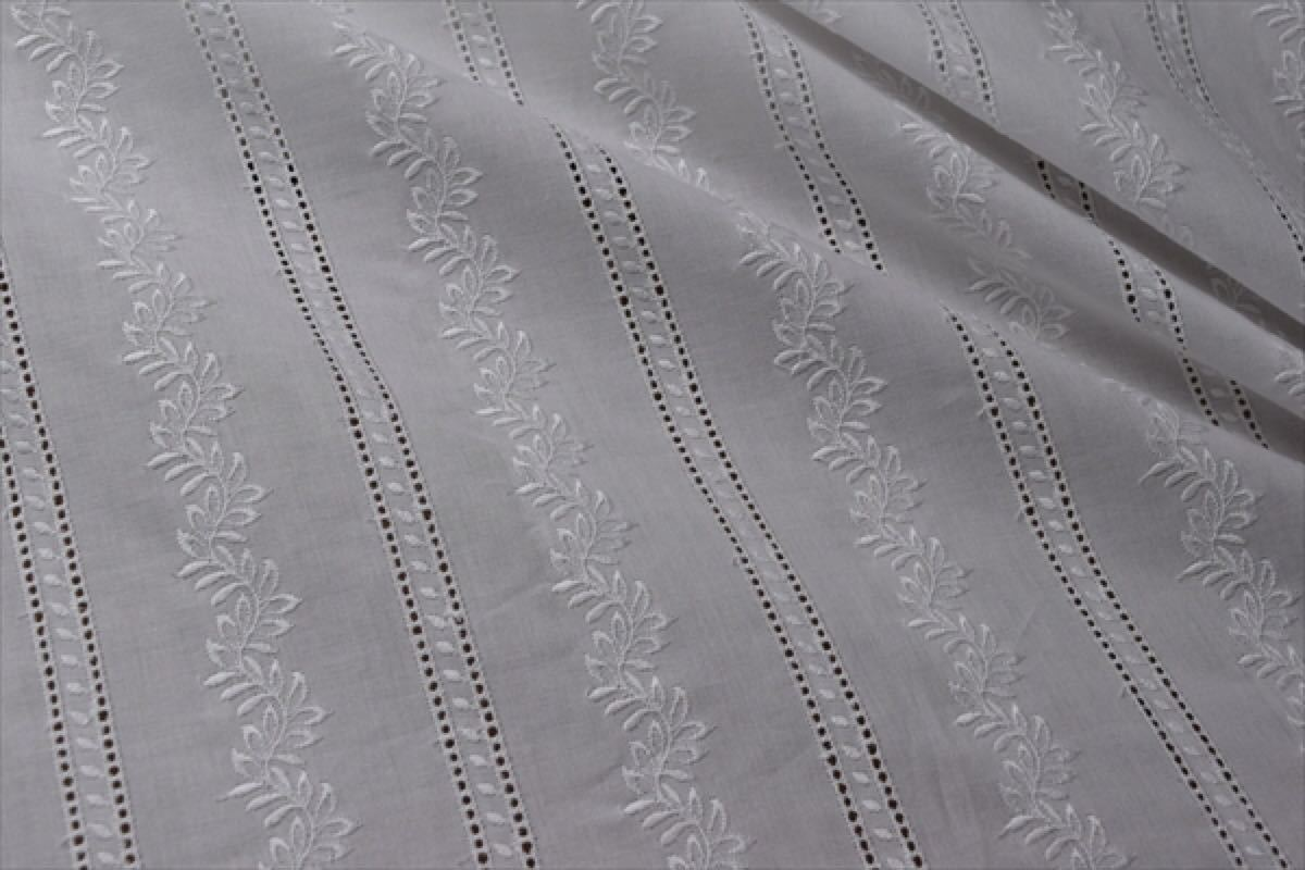 タイムセール!1m【刺繍レース生地】r17/綿ローン/花柄/はしご/ボーダー/コットン