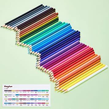 Theefun 色鉛筆 48色 六角軸 鉛筆けずり 収納ケース カラーリスト付き_画像2