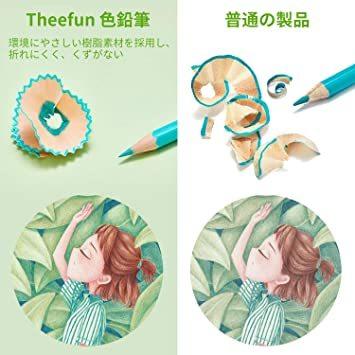 Theefun 色鉛筆 48色 六角軸 鉛筆けずり 収納ケース カラーリスト付き_画像7