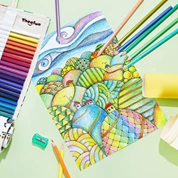 Theefun 色鉛筆 48色 六角軸 鉛筆けずり 収納ケース カラーリスト付き_画像6