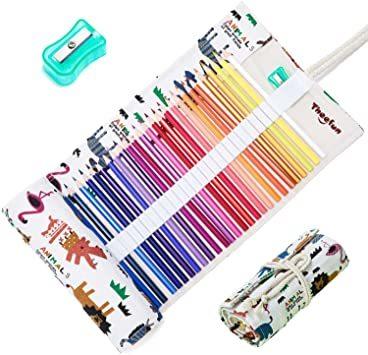 Theefun 色鉛筆 48色 六角軸 鉛筆けずり 収納ケース カラーリスト付き_画像1