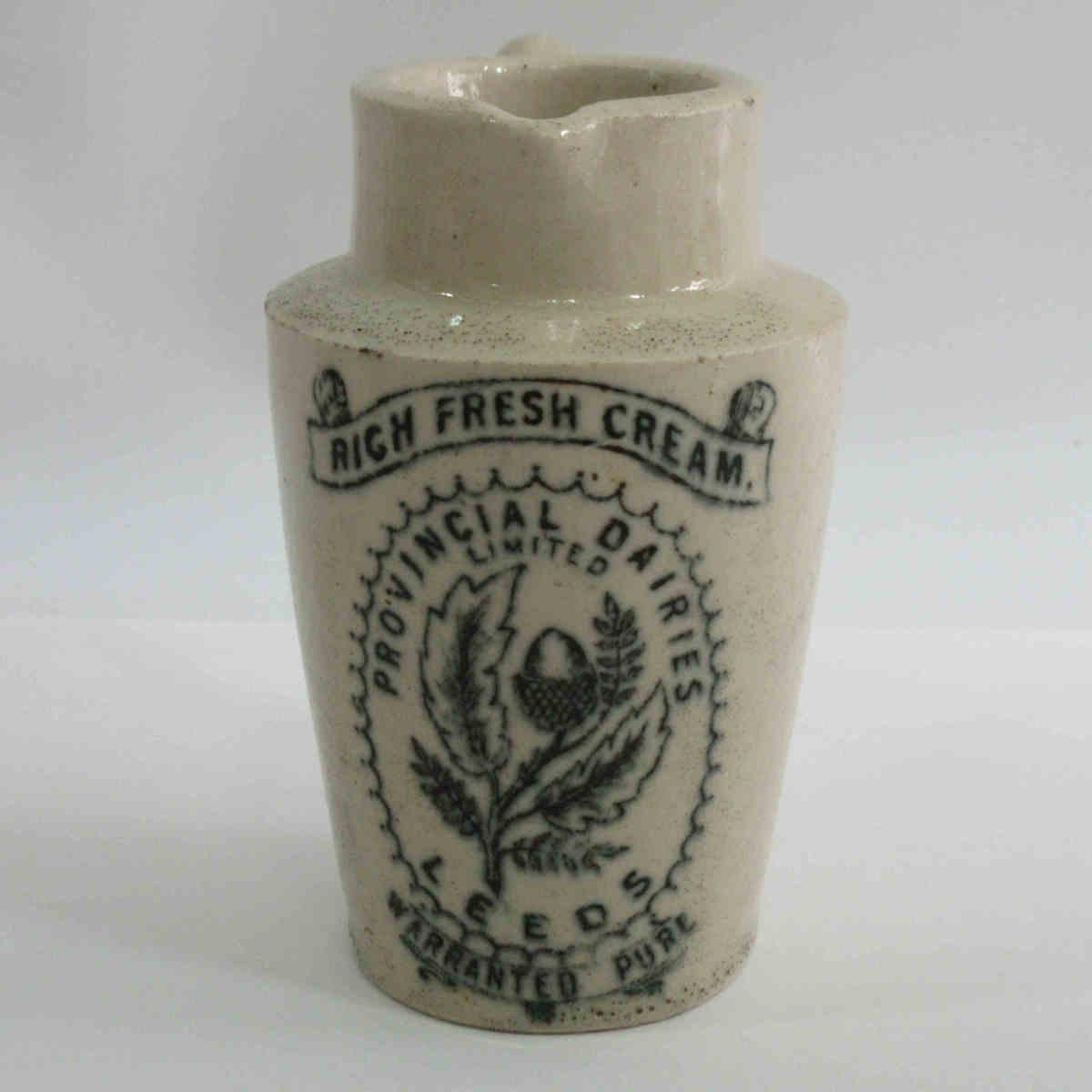 ■イギリス アンティーク ストーンウェア 「PROVINCIAL DAIRIES」クリームポット 陶器 クリームピッチャー ヴィンテージ l10