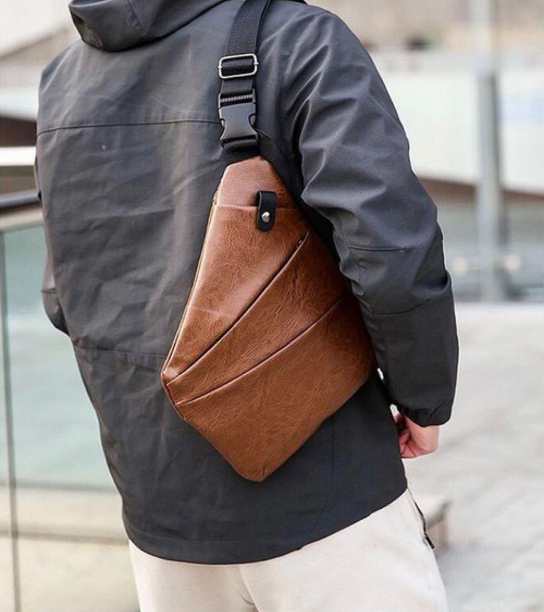 ボディバッグ 斜め掛け ショルダーバッグ ブラウン 小物 鞄 男女兼用 肩掛け 軽量 多機能