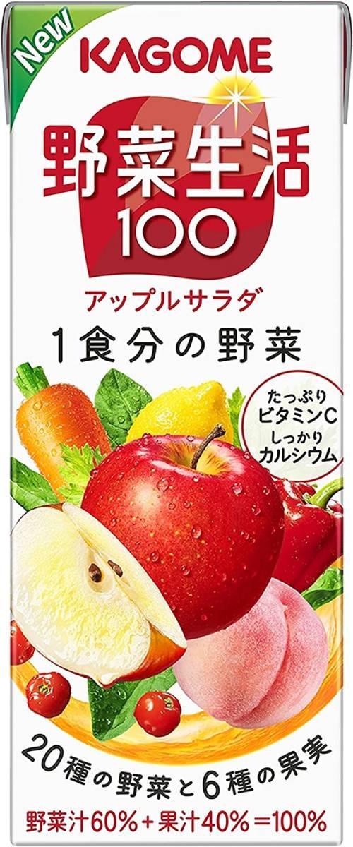 1日分のビタミンCが摂れる!カゴメ 野菜生活100 アップルサラダ 200ml ×24本_画像8