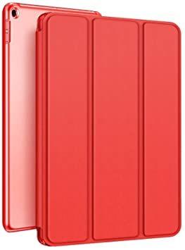 赤い KenKe iPad 9.7インチ 2018/2017 半透明 ケース軽量 薄型 耐衝撃 PUレザー 三つ折スタンド オ_画像1