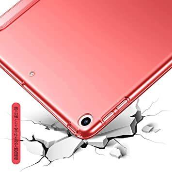 赤い KenKe iPad 9.7インチ 2018/2017 半透明 ケース軽量 薄型 耐衝撃 PUレザー 三つ折スタンド オ_画像5