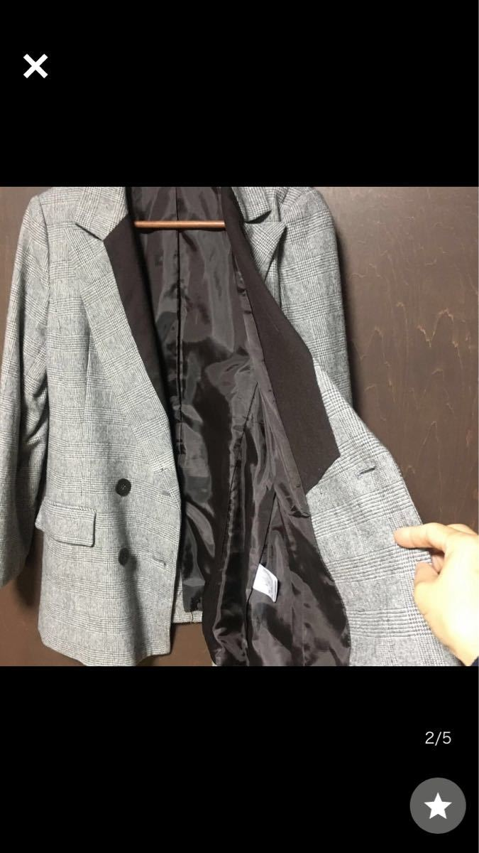 テーラードジャケット ウール混 ジャケット×茶 サイズ38 美品 チェック柄 千鳥格子 ウールMarc6number