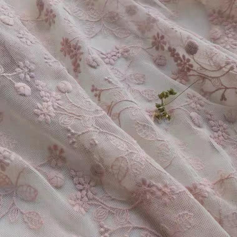 レース生地 綿刺繍 コットン刺繍 幅広チュールレース 薄ピンク