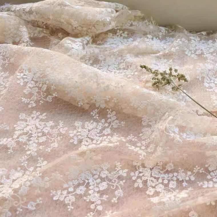 B08 レース生地 チュールレース シャンパン色 花満載  花刺繍