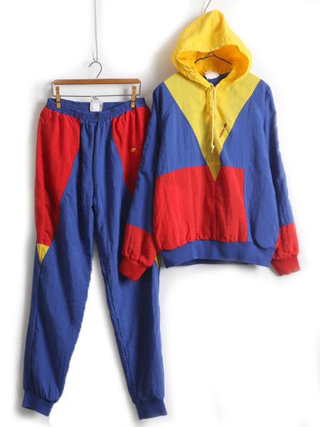 80s ビンテージ ■ ADIDAS アディダス セットアップ ナイロン パーカー ジャケット パンツ ( メンズ 男性 M ) 古着 トリコロール 赤 青 黄