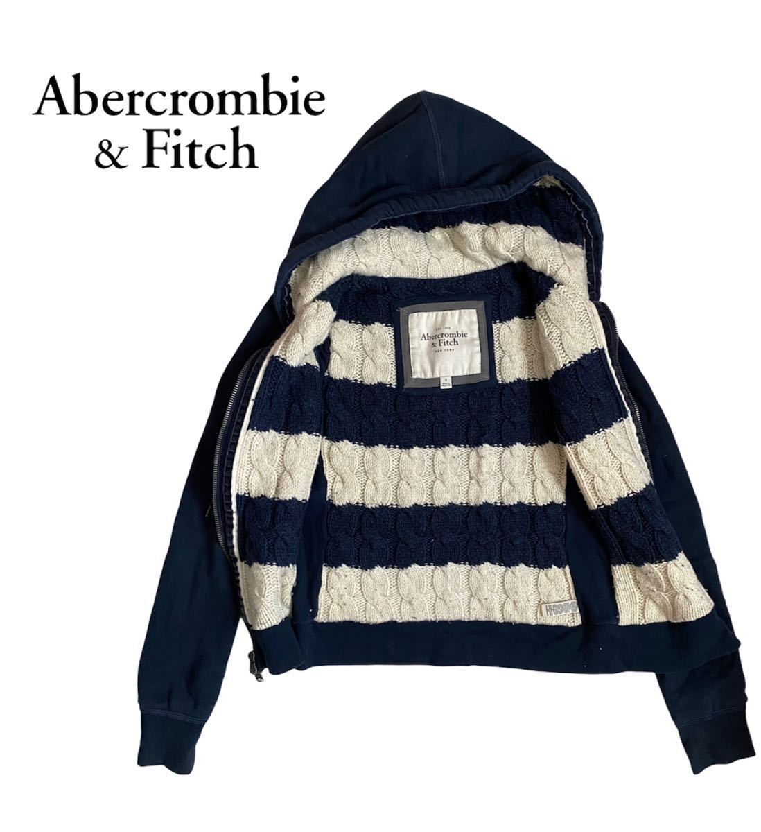 Abercrombie&Fitch パーカー ネイビー ボーダー