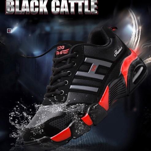 男性 トレーナー 通気性 スニーカー 男性 靴 成人 ファッション カジュアル シューズ エアクッション 黒 赤 青 メンズ_画像5