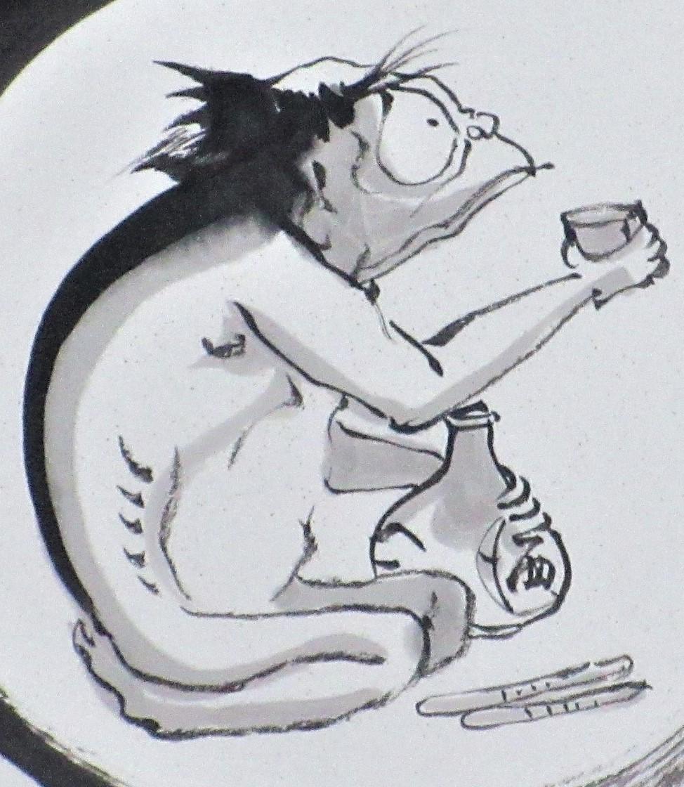 【真作保証】本庄基晃「河童」失明し右眼だけが開眼した奇跡の画家 色紙に水墨 日本画 縁起物 思わず笑顔になる作品 肉筆 一点物 丁寧梱包