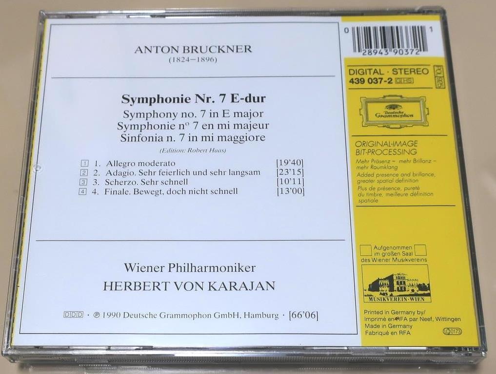 ブルックナー交響曲第7番 / カラヤン & ウィーン・フィル / 1989_画像2