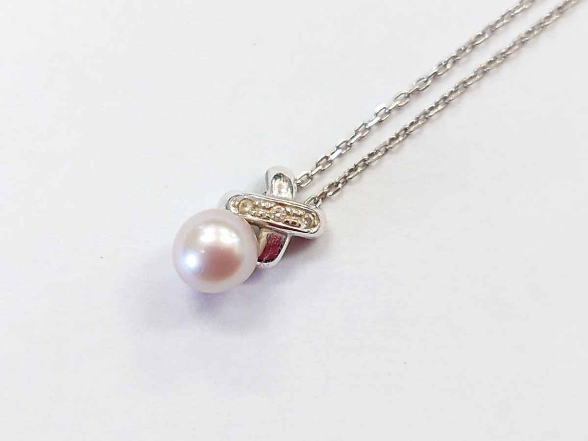Tasaki Pearl K18WG Pearl Diamond Necklace Pearl TASAKI ☆ CM0204 ☆ 100