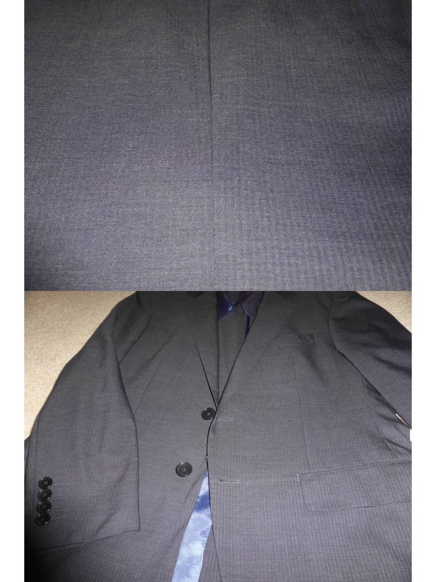 ★JUNKO SHIMADA JS homme ジュンコシマダ AB5 メンズスーツ グレーシャドーストライプ オールシーズン シングル2釦 ノータックパンツ 美品_画像10