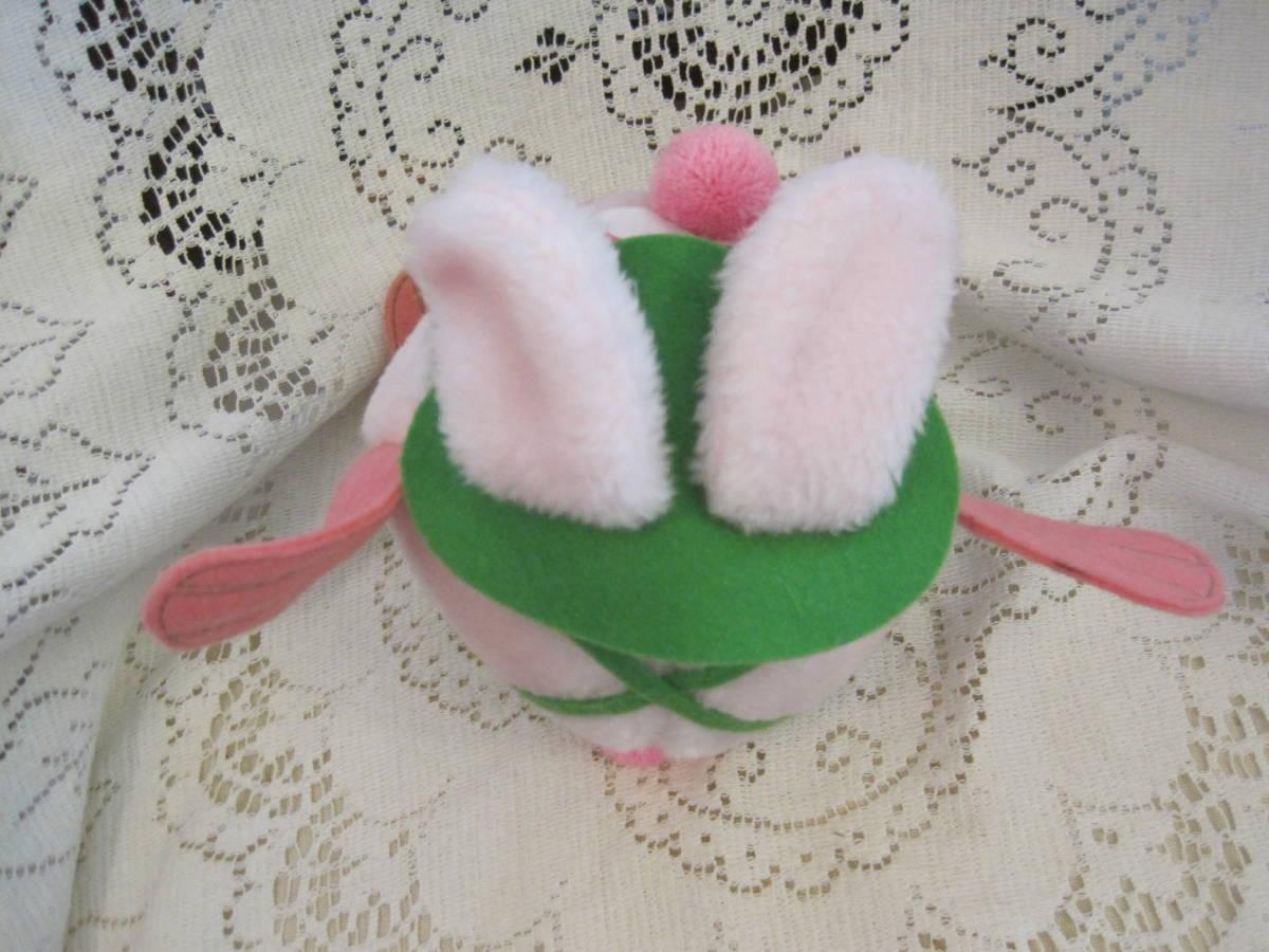 イースターバニー ヴィンテージ Pass Philimon&Hart 縫いぐるみ ピンク系 緑色の帽子とオーバーオール フエルト タグ付 1978年製 _画像6