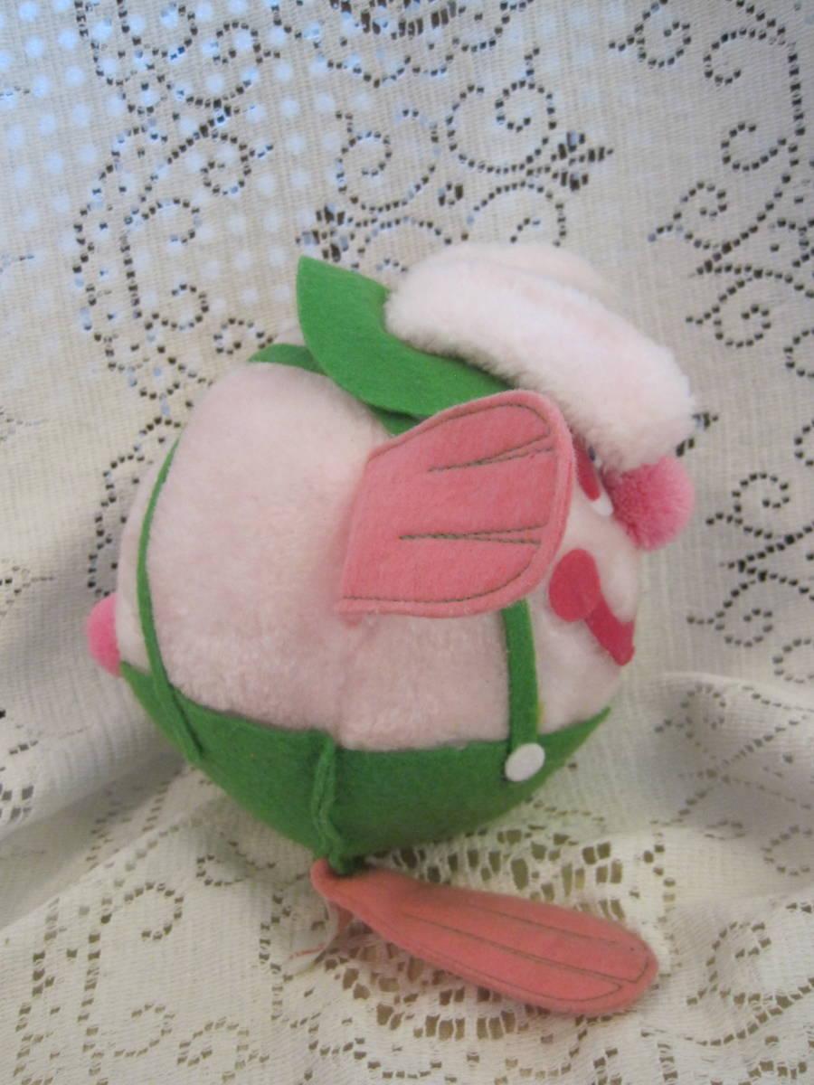 イースターバニー ヴィンテージ Pass Philimon&Hart 縫いぐるみ ピンク系 緑色の帽子とオーバーオール フエルト タグ付 1978年製 _画像3