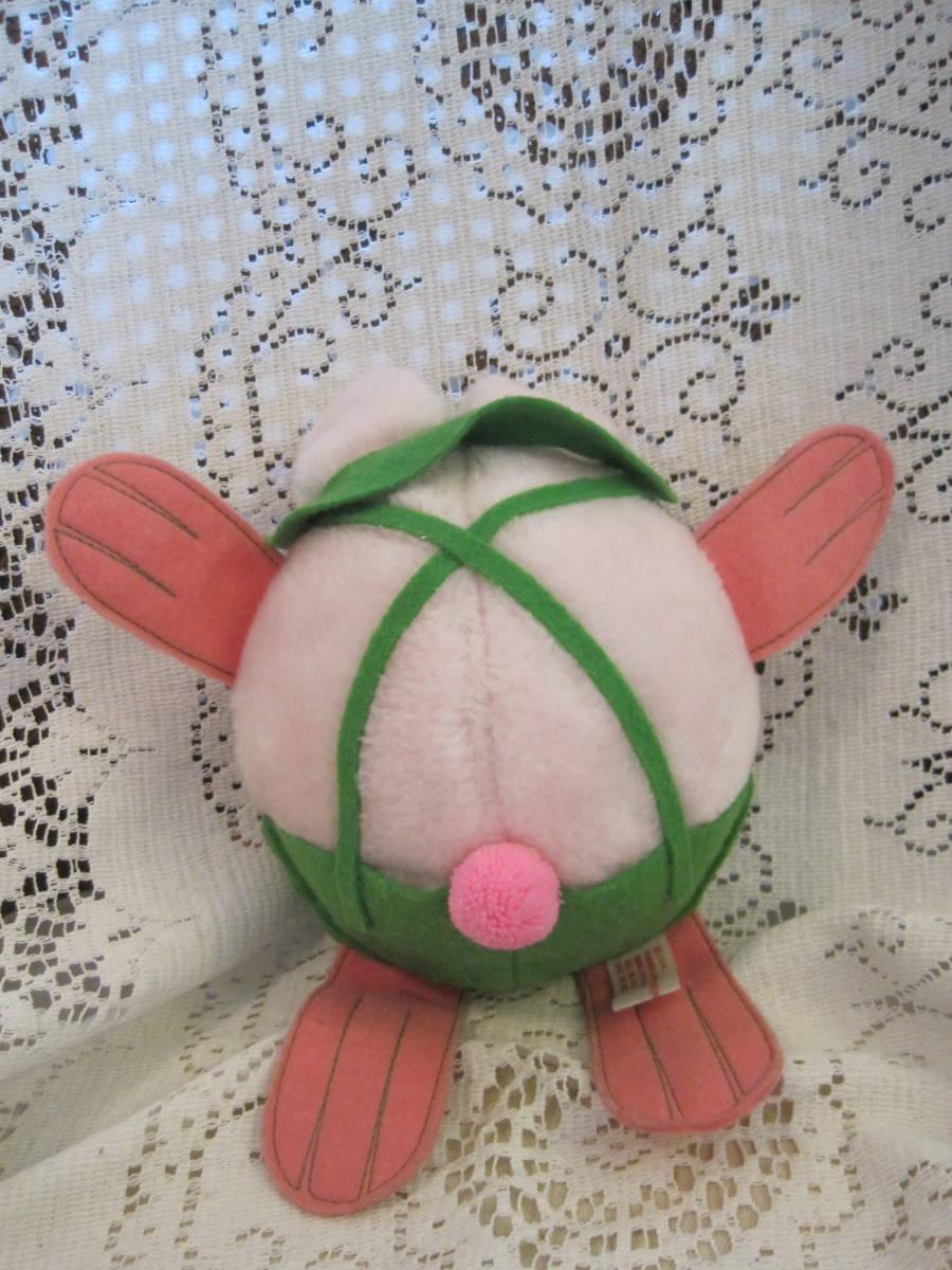 イースターバニー ヴィンテージ Pass Philimon&Hart 縫いぐるみ ピンク系 緑色の帽子とオーバーオール フエルト タグ付 1978年製 _画像4