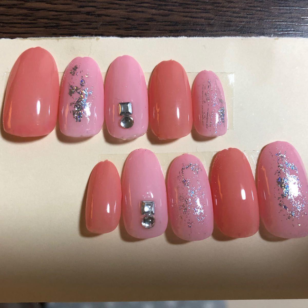 ネイルチップ ハンドメイド 春ネイル ピンク シルバー ジェルネイル 付け爪