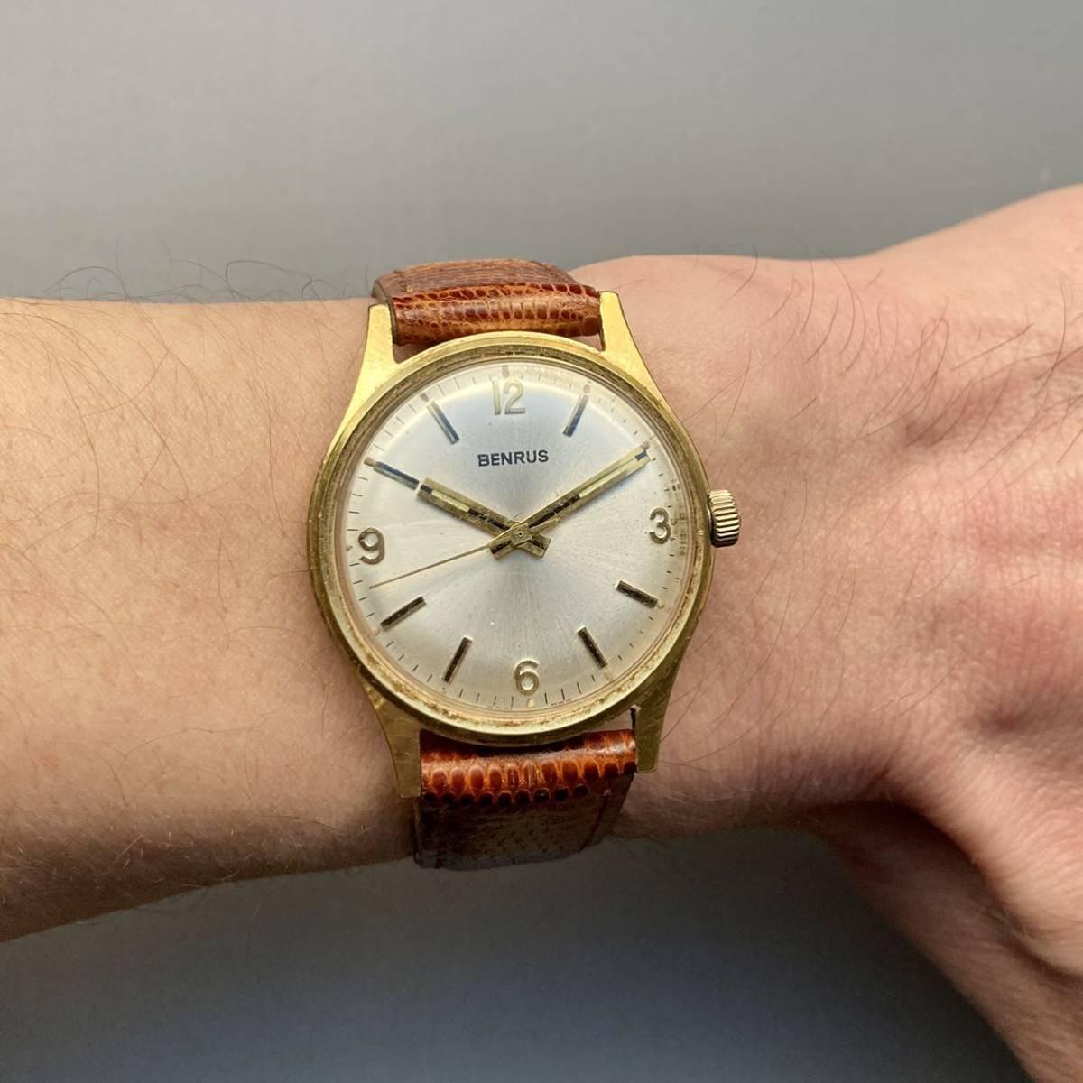 美品★動作良好★BENRUS ベンラス アンティーク 腕時計 メンズ 手巻き ケース径33㎜ ビンテージ ウォッチ 男性 レトロ_画像10