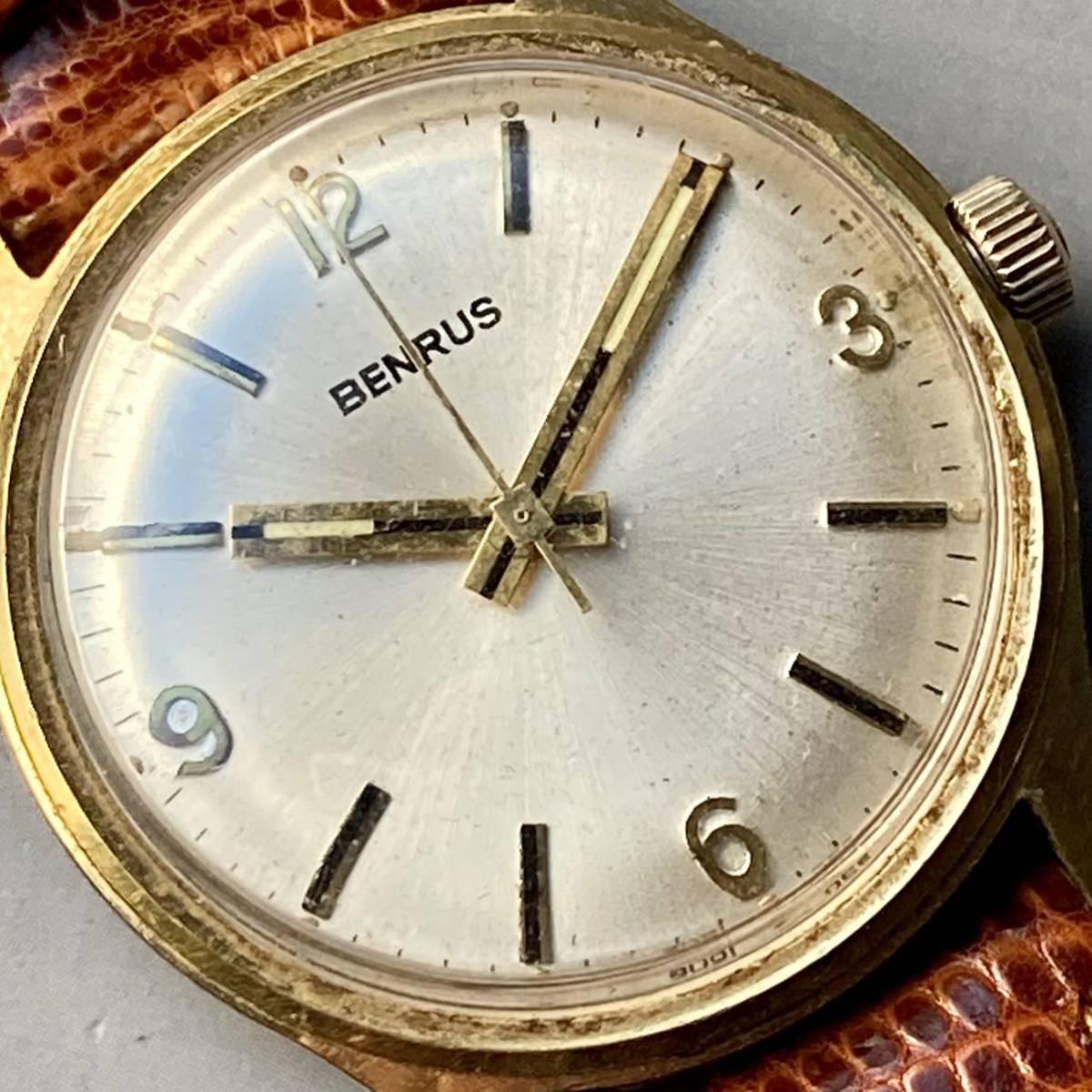 美品★動作良好★BENRUS ベンラス アンティーク 腕時計 メンズ 手巻き ケース径33㎜ ビンテージ ウォッチ 男性 レトロ_画像3