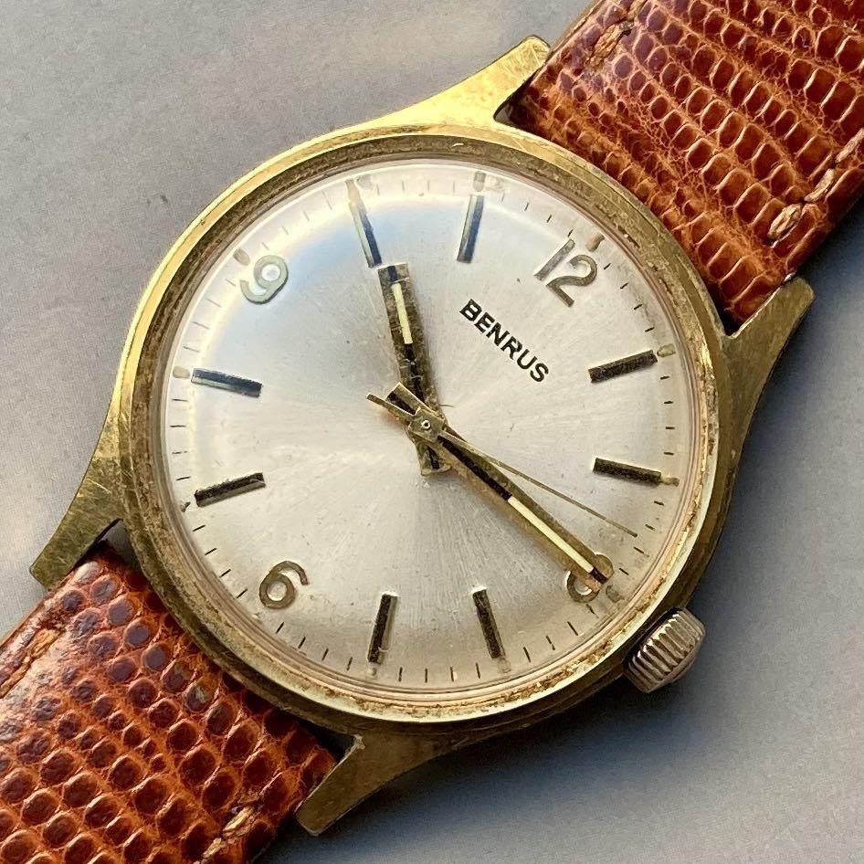 美品★動作良好★BENRUS ベンラス アンティーク 腕時計 メンズ 手巻き ケース径33㎜ ビンテージ ウォッチ 男性 レトロ_画像5