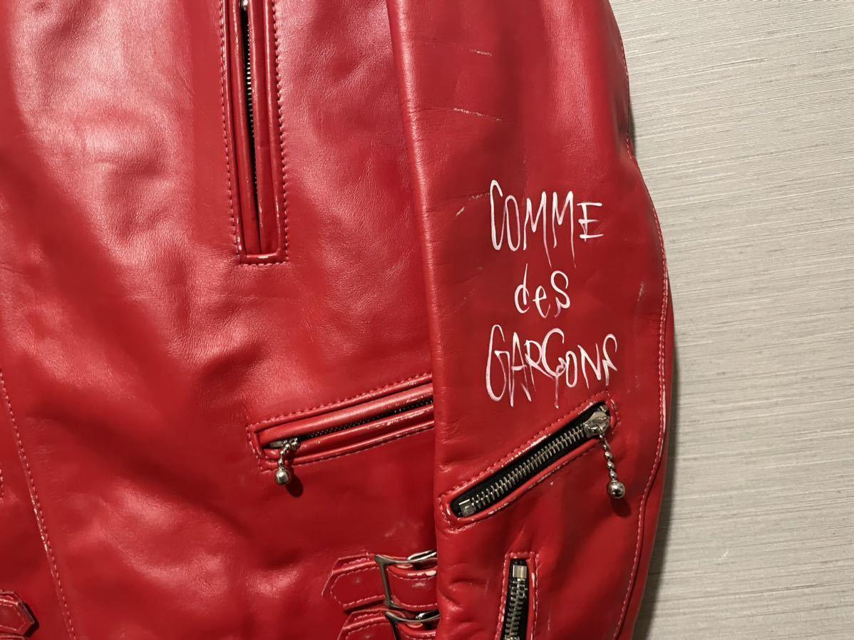 新品 川久保玲着 COMME des GARCONS ルイスレザー forever 赤 ライトニング ライダース コムデギャルソン ジャケット Lewis Leathers_画像6