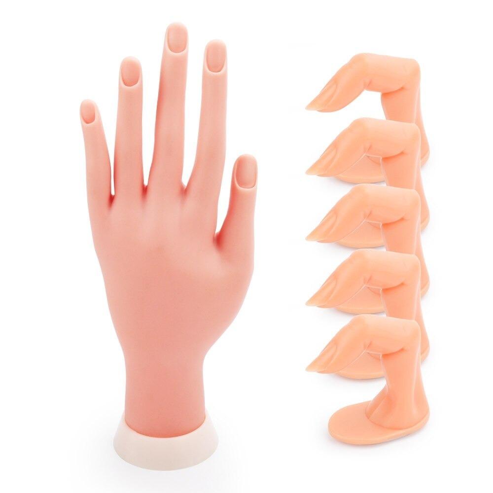 d24: 柔軟で柔らかいプラスチック手 + 5個実践指 ネイルアート アクリル系uvジェルトレーニング ディスプレイ マニキュアツール_②ハンドと指(爪あり)セット♪