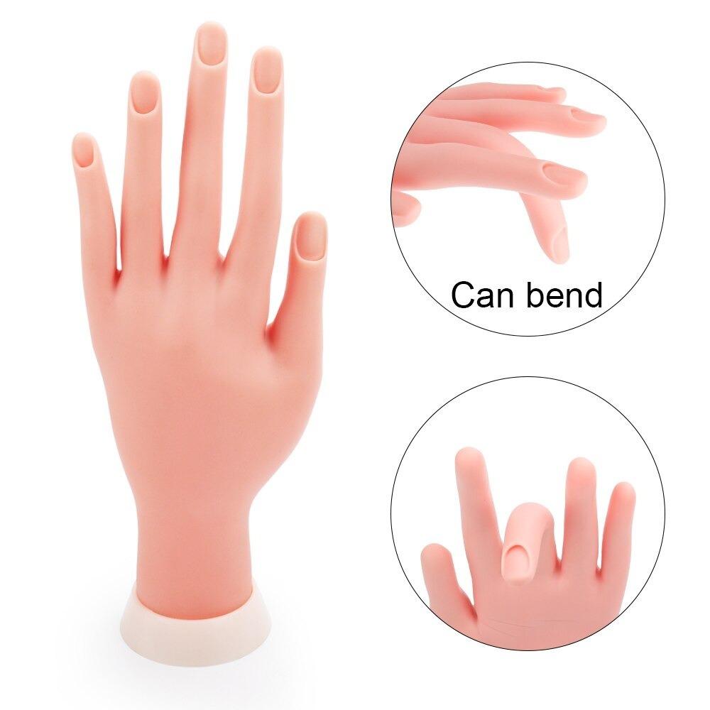d24: 柔軟で柔らかいプラスチック手 + 5個実践指 ネイルアート アクリル系uvジェルトレーニング ディスプレイ マニキュアツール_画像5