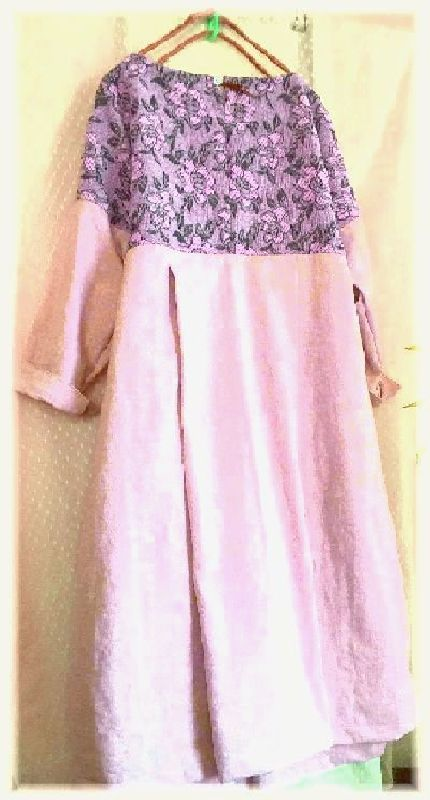 薄ピンクのコットンとお花の織り地のOP ハンドメイド_画像2