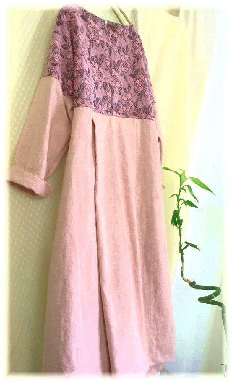 薄ピンクのコットンとお花の織り地のOP ハンドメイド_画像5
