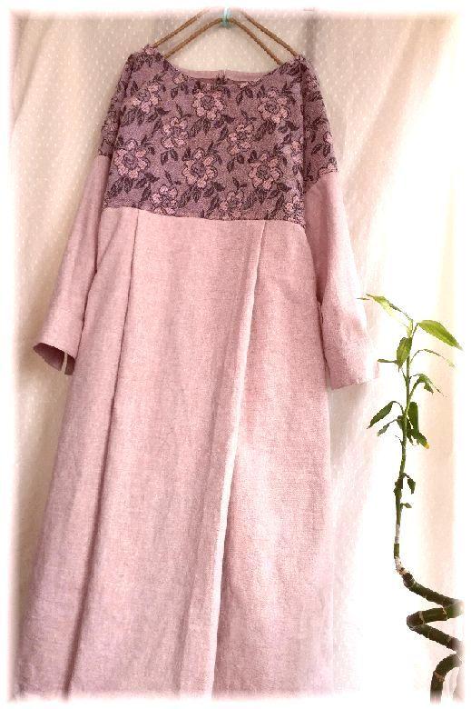 薄ピンクのコットンとお花の織り地のOP ハンドメイド_画像4