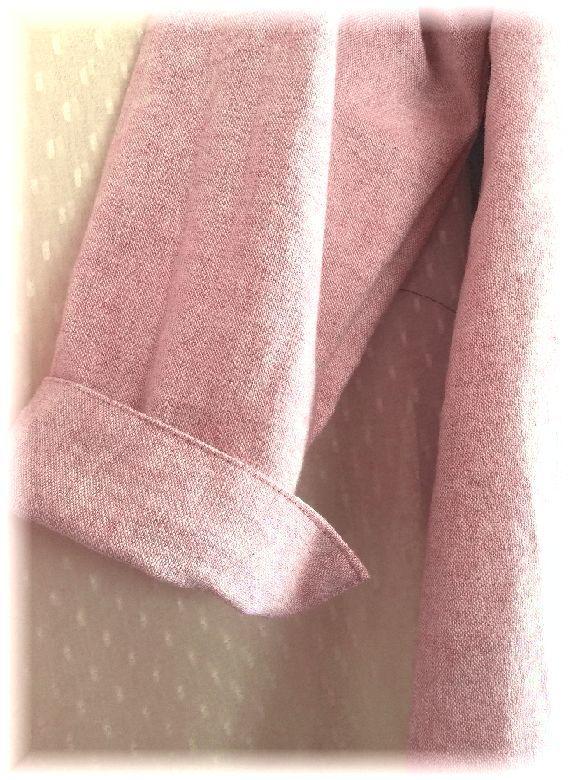 薄ピンクのコットンとお花の織り地のOP ハンドメイド_画像3