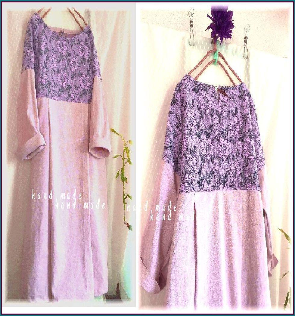 薄ピンクのコットンとお花の織り地のOP ハンドメイド_画像1